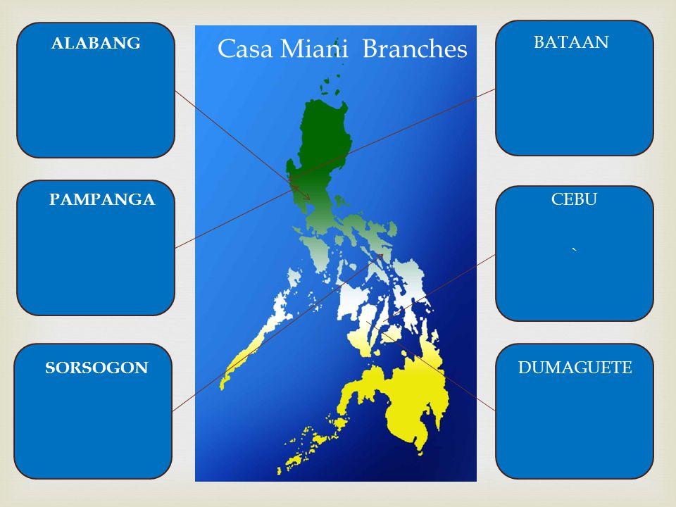 ` Casa Miani Branches ALABANG PAMPANGA SORSOGON BATAAN CEBU DUMAGUETE