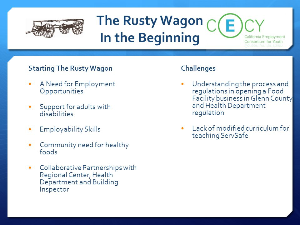 The Rusty Wagon In the Beginning Starting The Rusty Wagon A Need for Employment Opportunities Support for adults with disabilities Employability Skill