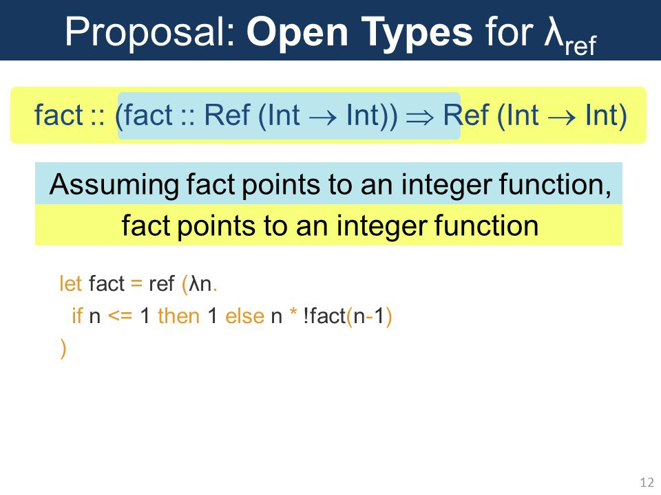 Proposal: Open Types for λ ref 12 let fact = ref (λn.