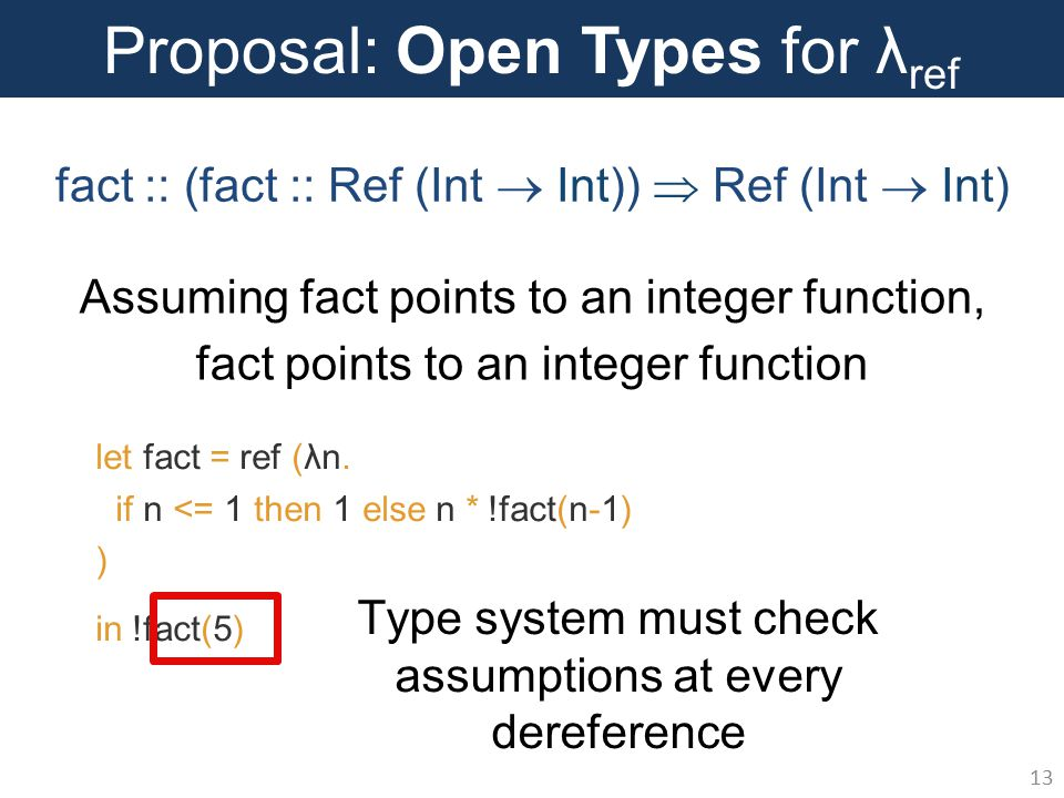 Proposal: Open Types for λ ref 13 let fact = ref (λn.