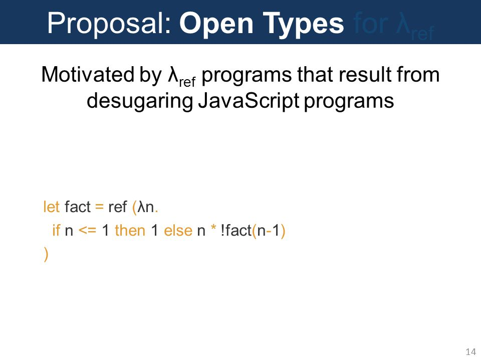 Proposal: Open Types for λ ref 14 let fact = ref (λn.