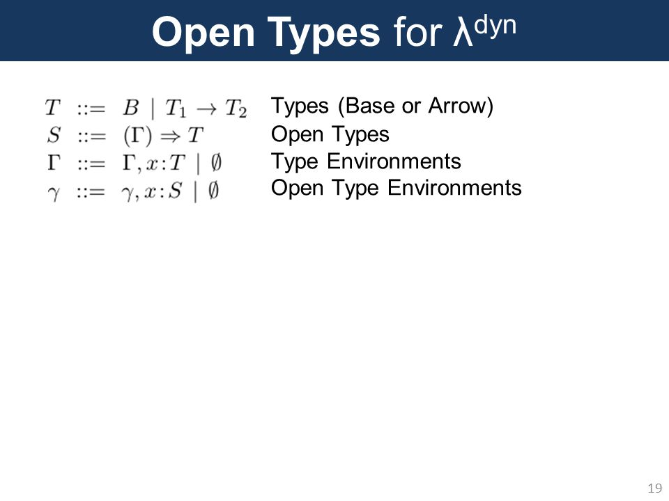 Open Types for λ dyn 19 Types (Base or Arrow) Open Types Type Environments Open Type Environments