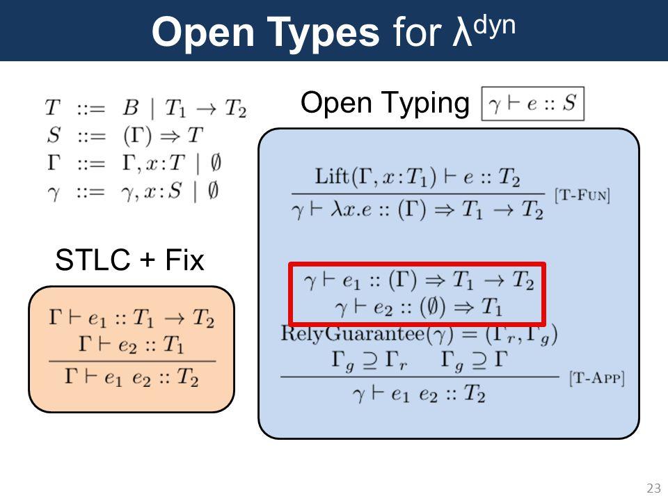 Open Types for λ dyn 23 Open Typing STLC + Fix