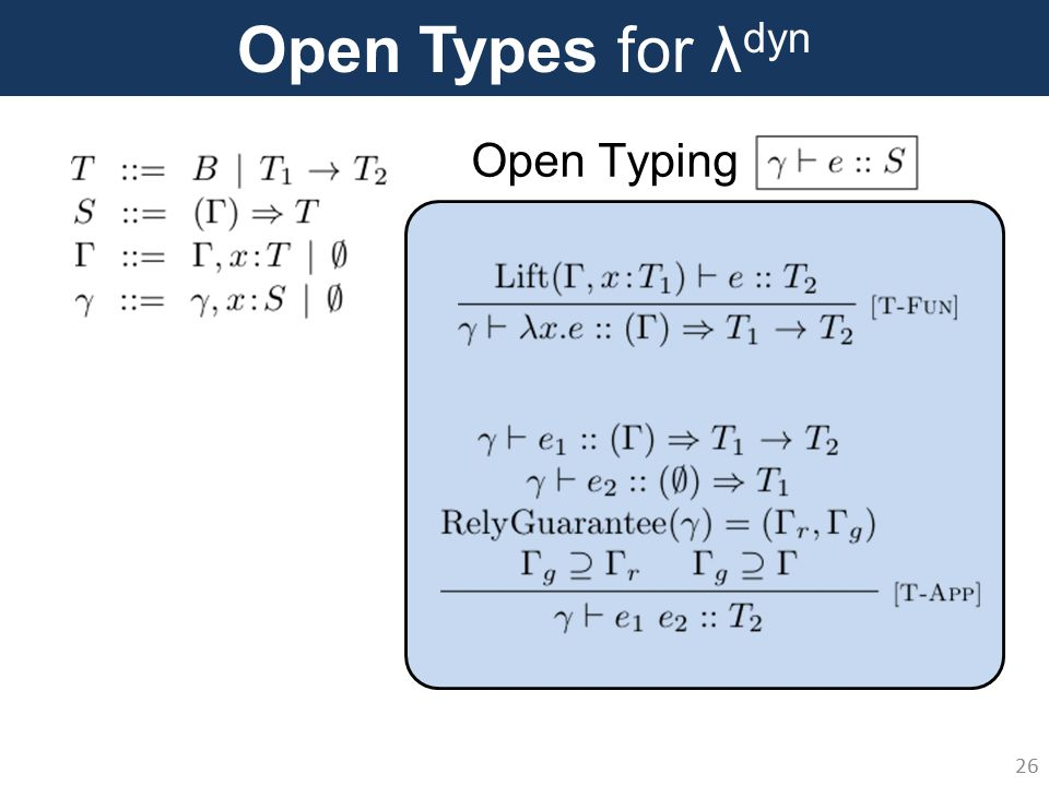 Open Types for λ dyn 26 Open Typing