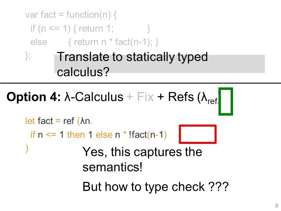 let fact = ref (λn. if n <= 1 then 1 else n * !fact(n-1) ) Yes, this captures the semantics.