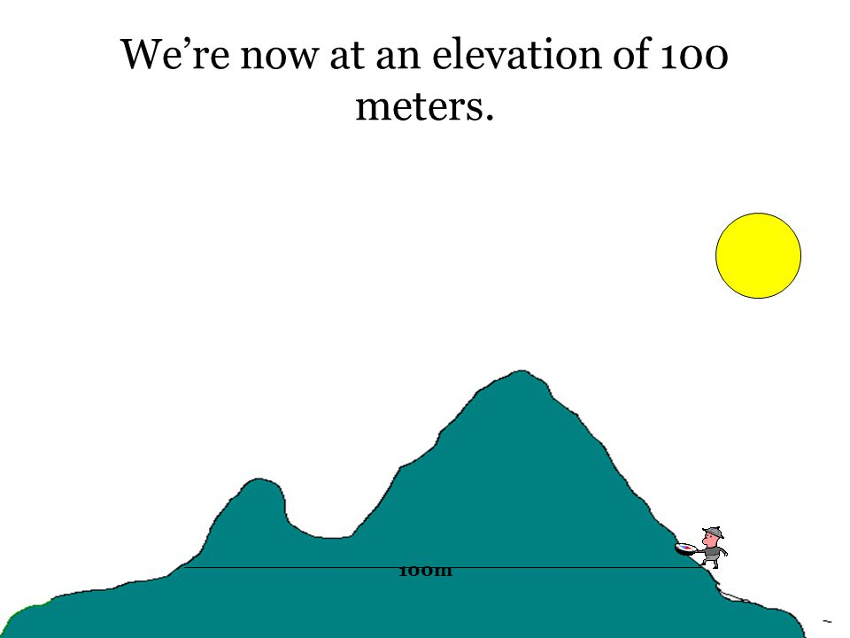 We're now at an elevation of 100 meters. 100m