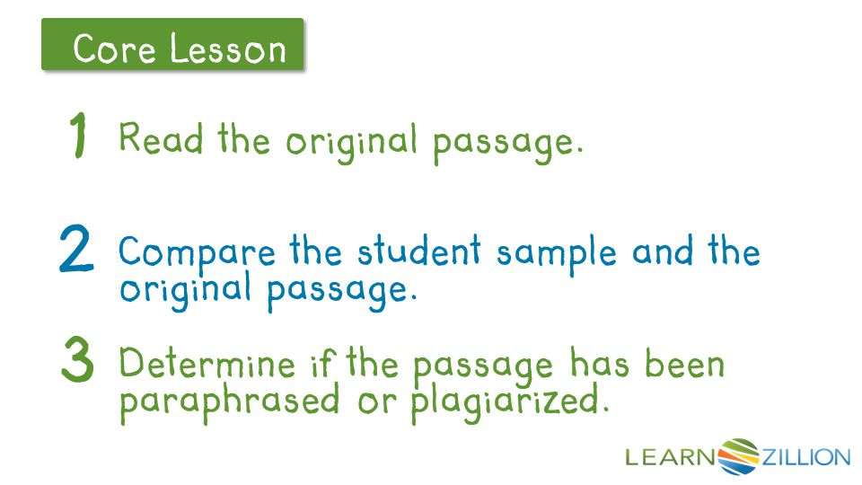 Let's Review Core Lesson Read the original passage. 1 2 Compare the student sample and the original passage. 3 Determine if the passage has been parap