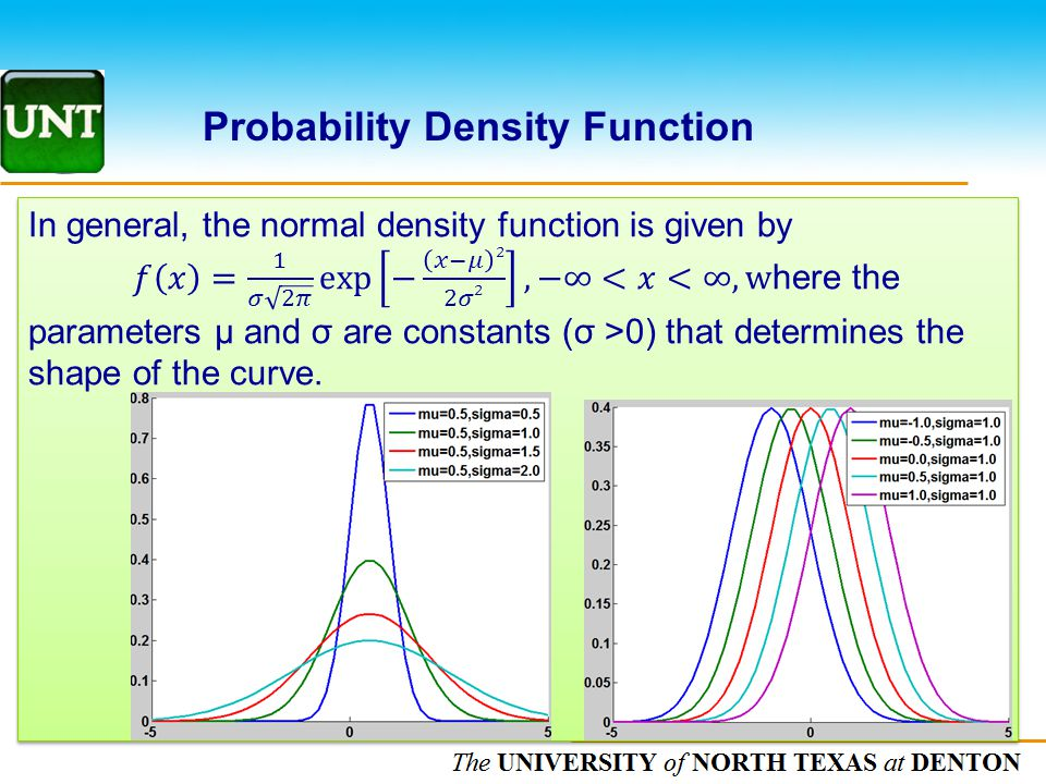 The UNIVERSITY of NORTH CAROLINA at CHAPEL HILL Probability Density Function