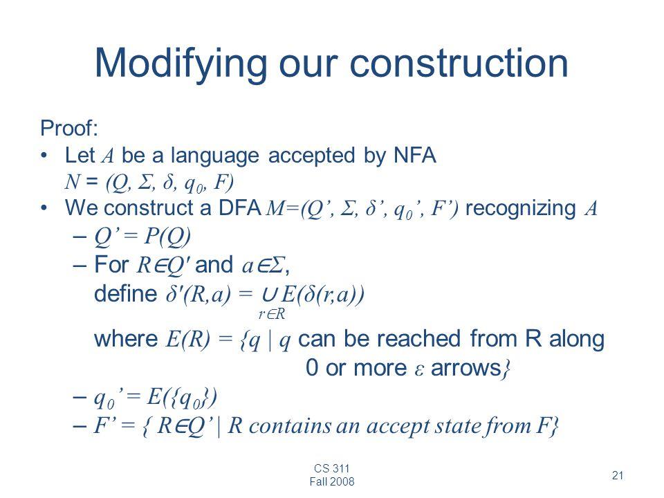 CS 311 Fall 2008 21 Modifying our construction Proof: Let A be a language accepted by NFA N = (Q, Σ, δ, q 0, F) We construct a DFA M=(Q', Σ, δ', q 0 '