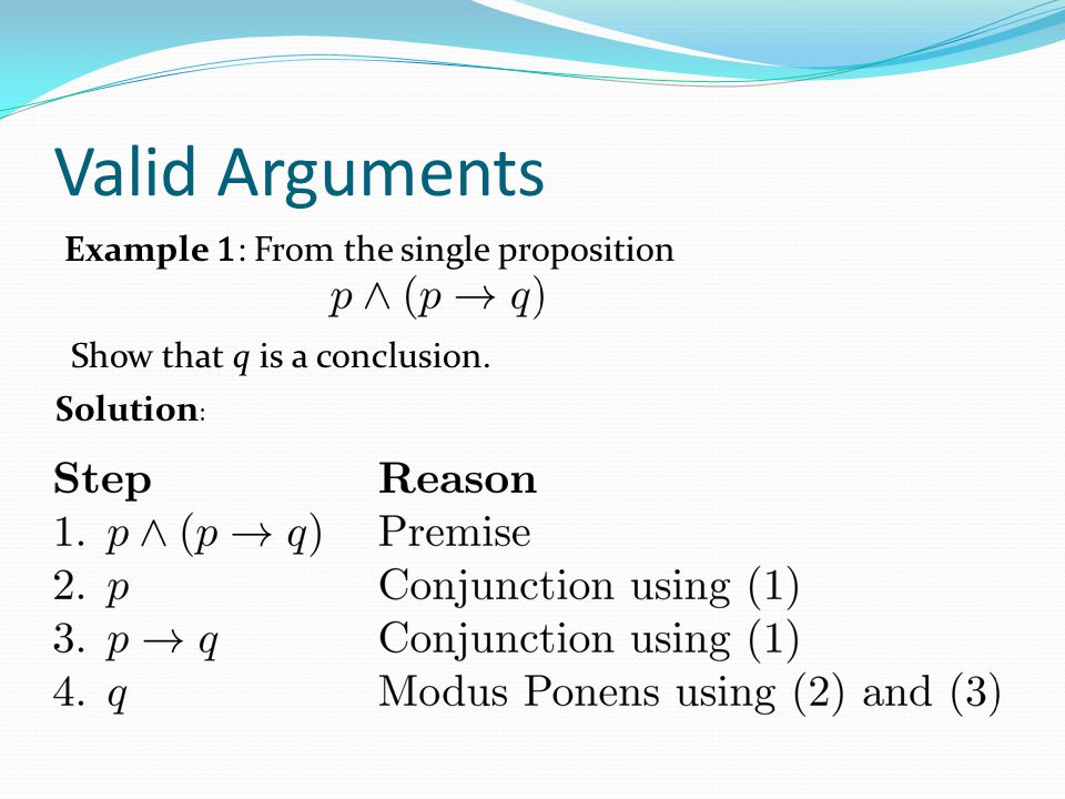 Valid Arguments Example 1 : From the single proposition Show that q is a conclusion. Solution :