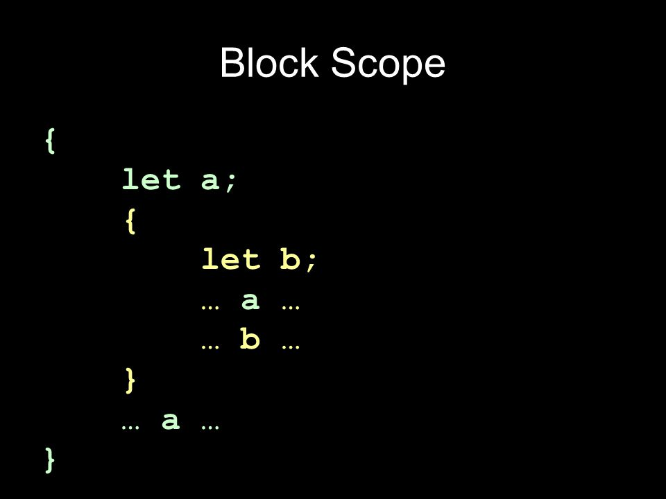 Block Scope { let a; { let b; … a … … b … } … a … }