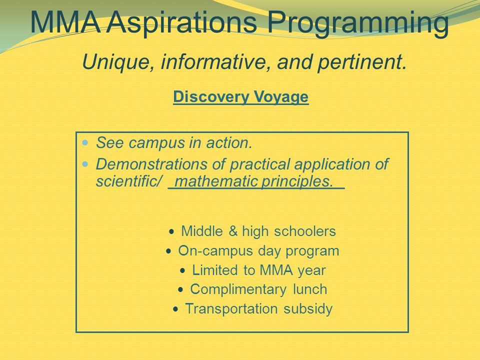 MMA Aspirations Programming Unique, informative, and pertinent.