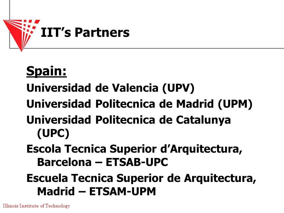 Illinois Institute of Technology IIT's Partners Spain: Universidad de Valencia (UPV) Universidad Politecnica de Madrid (UPM) Universidad Politecnica de Catalunya (UPC) Escola Tecnica Superior d'Arquitectura, Barcelona – ETSAB-UPC Escuela Tecnica Superior de Arquitectura, Madrid – ETSAM-UPM