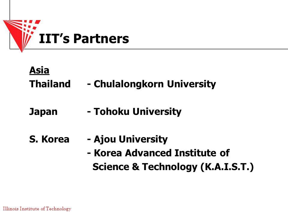 Illinois Institute of Technology IIT's Partners Asia Thailand- Chulalongkorn University Japan - Tohoku University S.