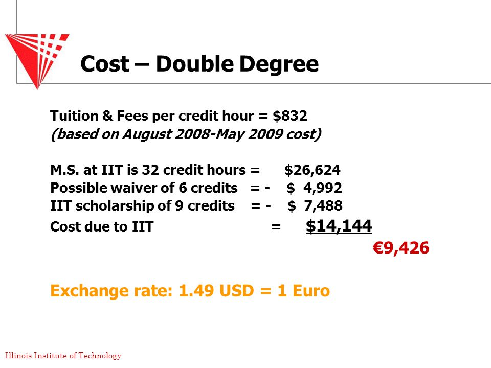 Illinois Institute of Technology Cost – Double Degree Tuition & Fees per credit hour = $832 (based on August 2008-May 2009 cost) M.S.