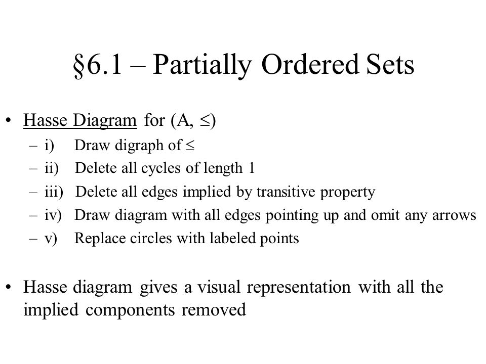 §6.1 – Partially Ordered Sets Topological Sorting –Linear order that is an extension of a partial order –Typical notation: –Many topological sortings may exist for a given partial order