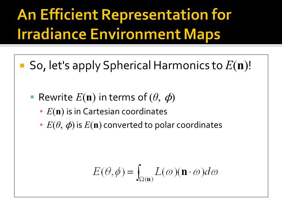  So, let s apply Spherical Harmonics to E(n) .