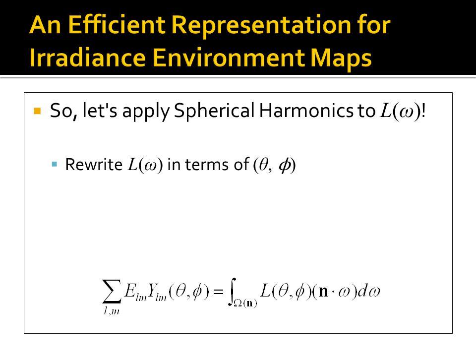  So, let s apply Spherical Harmonics to L(ω) .