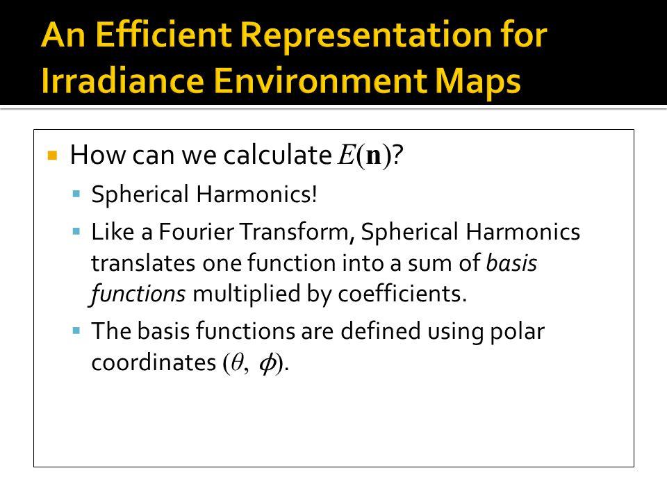  So, let s apply Spherical Harmonics to E(n) !