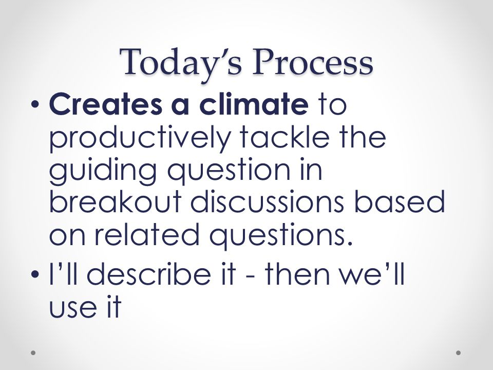 Today's Process Creates a climate to productively tackle the guiding question in breakout discussions based on related questions.
