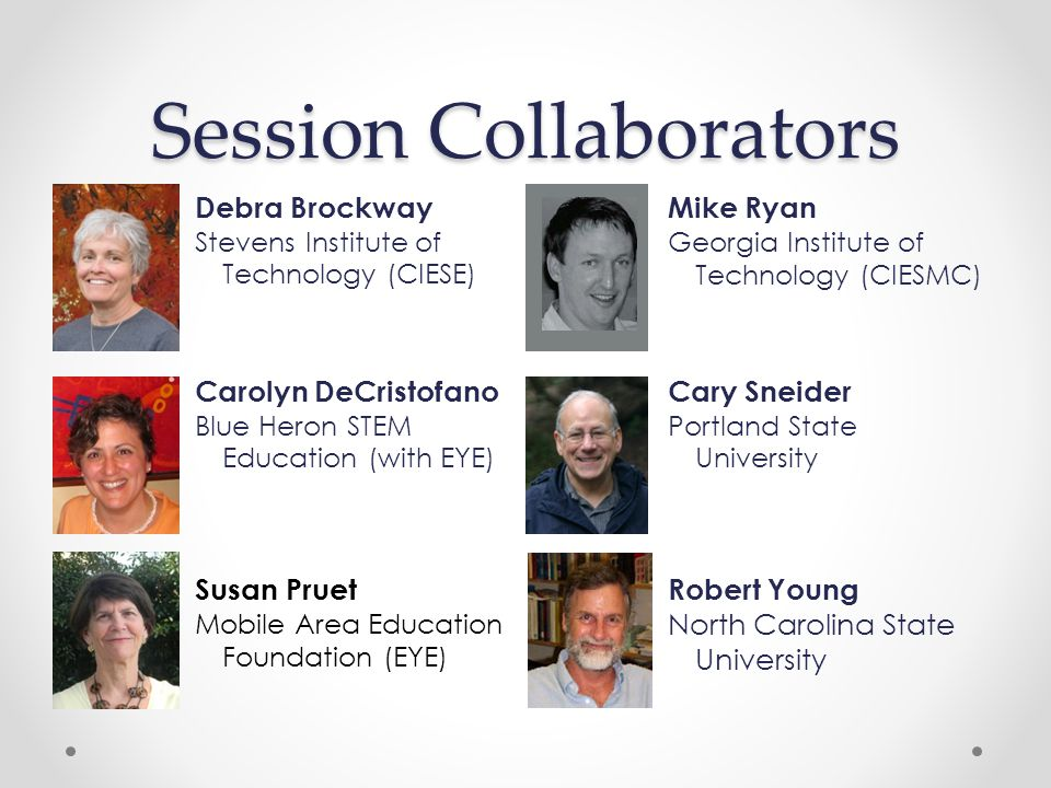 Session Collaborators Debra Brockway Stevens Institute of Technology (CIESE) Mike Ryan Georgia Institute of Technology (CIESMC) Carolyn DeCristofano Blue Heron STEM Education (with EYE) Cary Sneider Portland State University Susan Pruet Mobile Area Education Foundation (EYE) Robert Young North Carolina State University