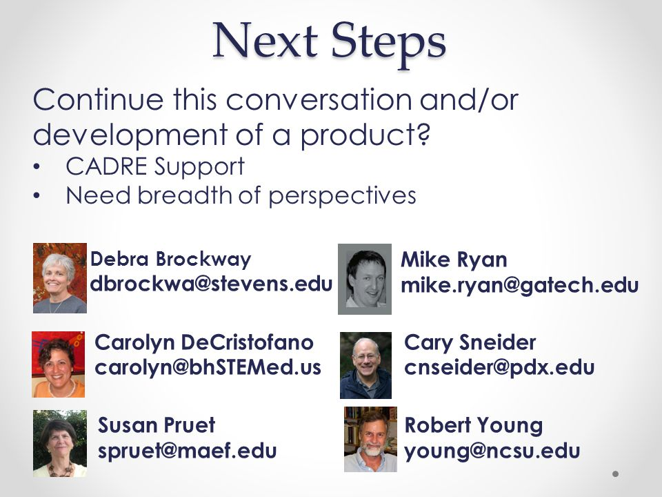 Next Steps Debra Brockway dbrockwa@stevens.edu Mike Ryan mike.ryan@gatech.edu Carolyn DeCristofano carolyn@bhSTEMed.us Cary Sneider cnseider@pdx.edu Susan Pruet spruet@maef.edu Robert Young young@ncsu.edu Continue this conversation and/or development of a product.