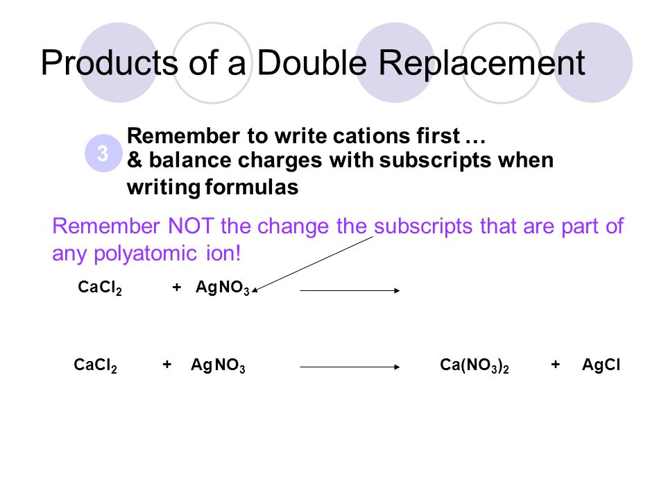 & balance charges with subscripts when writing formulas Remember to write cations first … AgCl CaCl 2 +AgNO 3 3 Ca(NO 3 ) 2 + CaCl 2 AgNO 3 + Products