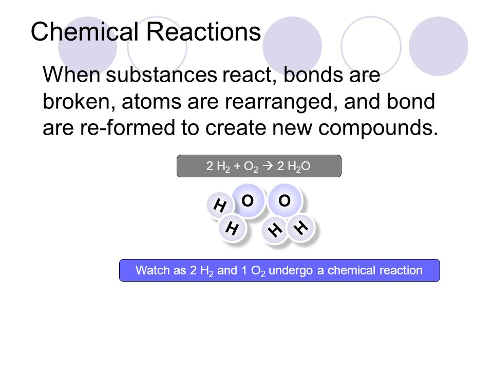 Watch as 2 H 2 and 1 O 2 undergo a chemical reaction O O O O When substances react, bonds are broken, atoms are rearranged, and bond are re-formed to