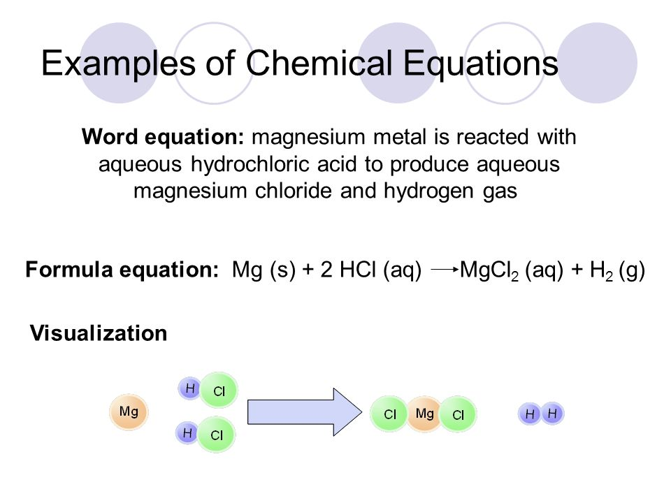 Examples of Chemical Equations Word equation: magnesium metal is reacted with aqueous hydrochloric acid to produce aqueous magnesium chloride and hydr