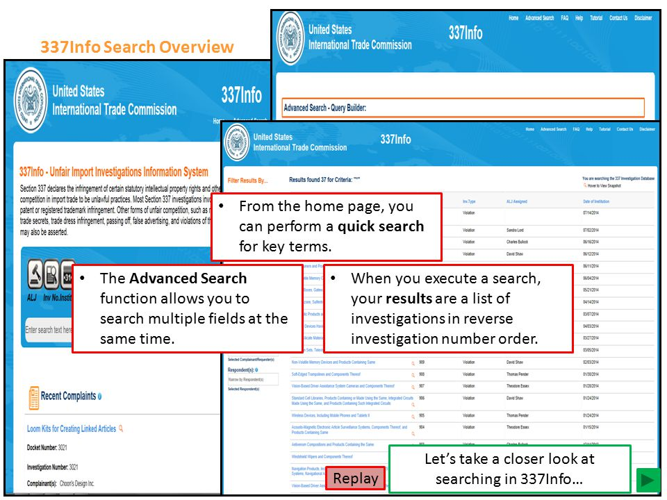 There are multiple ways to search in 337Info… 337Info Search Overview From the home page, you can perform a quick search for key terms. The Advanced S