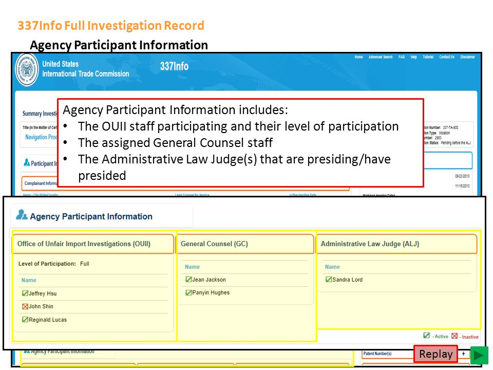 337Info Full Investigation Record Agency Participant Information Agency Participant Information includes: The OUII staff participating and their level