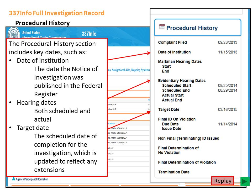 337Info Full Investigation Record Procedural History The Procedural History section includes key dates, such as: Date of Institution The date the Noti