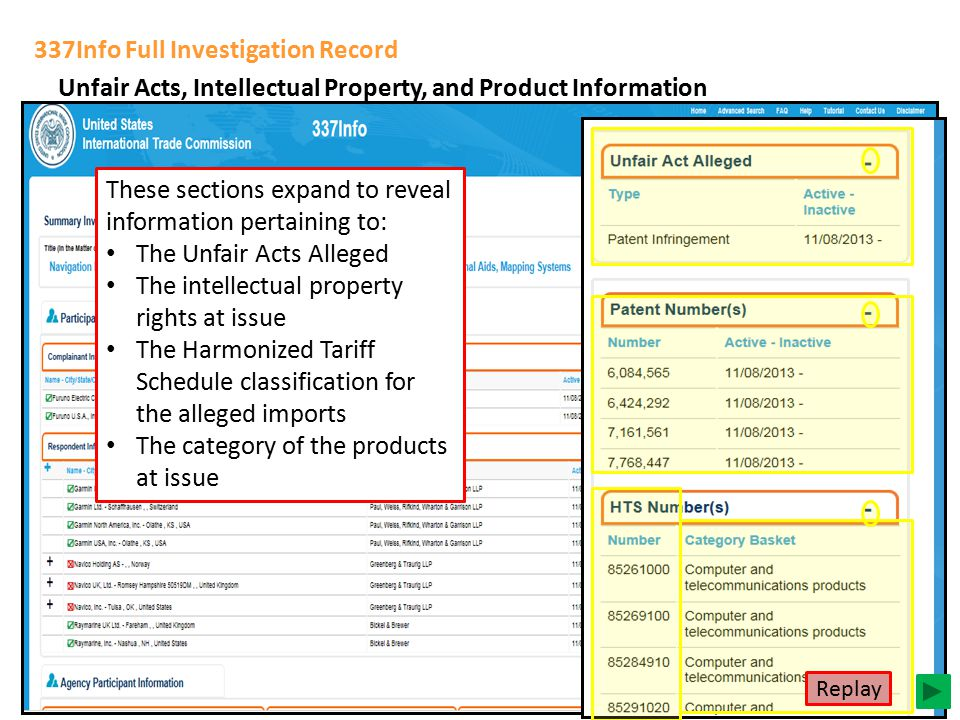 337Info Full Investigation Record Unfair Acts, Intellectual Property, and Product Information These sections expand to reveal information pertaining to: The Unfair Acts Alleged The intellectual property rights at issue The Harmonized Tariff Schedule classification for the alleged imports The category of the products at issue Replay