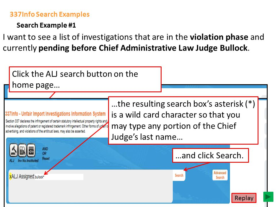337Info Search Examples Now that you know a bit about 337Info's structure and features, let's walk through some searches… I want to see a list of inve