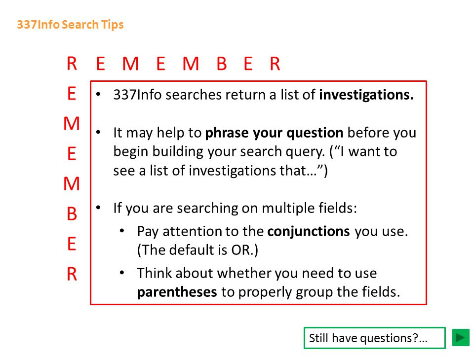 337Info Search Tips 337Info searches return a list of investigations.