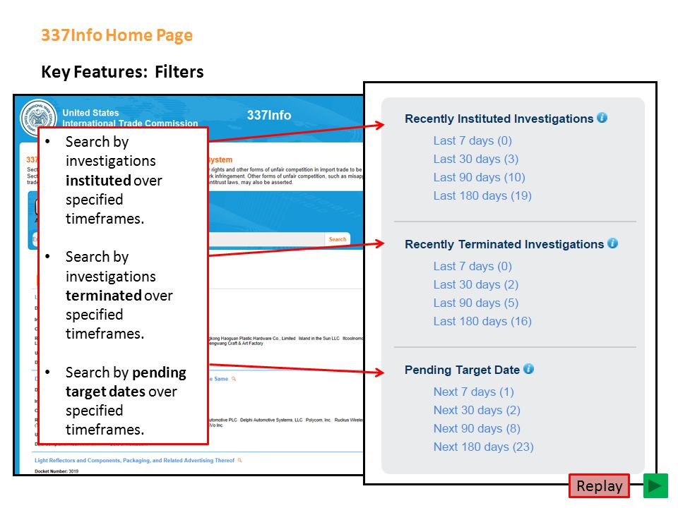 Key Features: Filters 337Info Home Page Search by investigations instituted over specified timeframes.