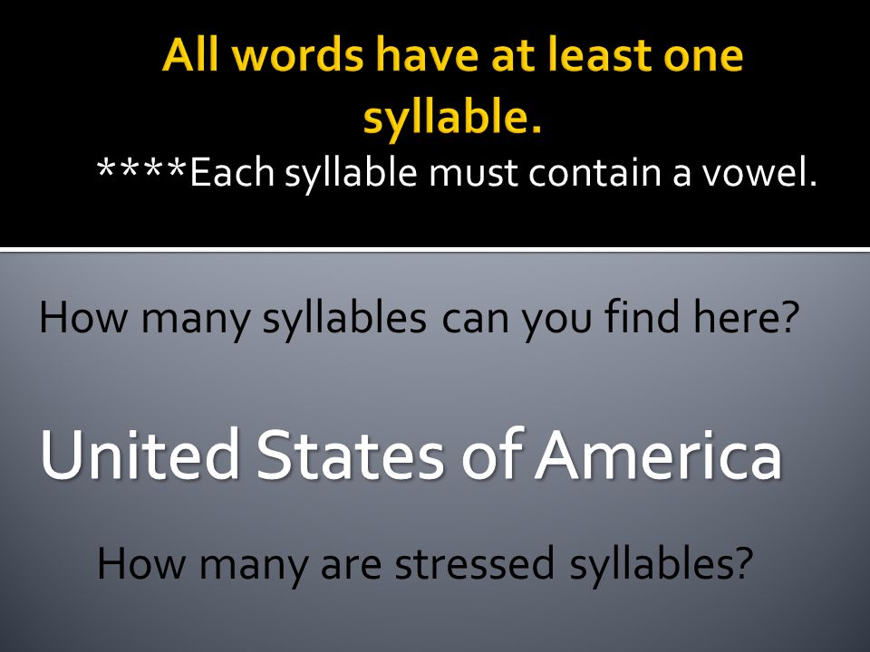 ****Each syllable must contain a vowel. How many syllables can you find here? How many are stressed syllables?
