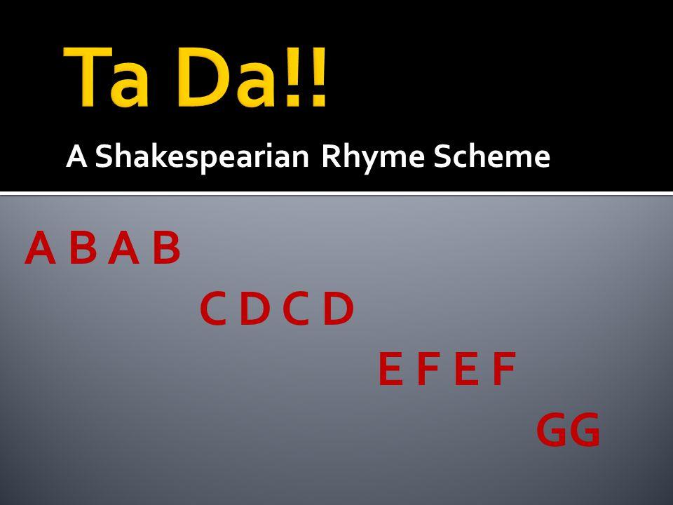A Shakespearian Rhyme Scheme A B C D C D E F E F GG