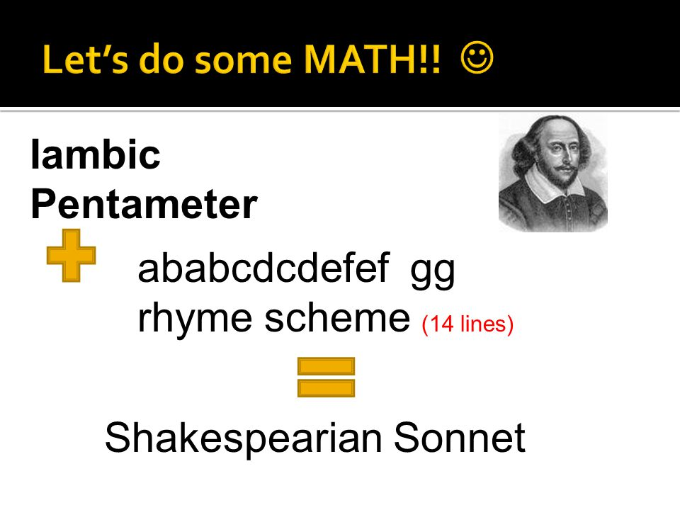 Iambic Pentameter ababcdcdefef gg rhyme scheme (14 lines) Shakespearian Sonnet