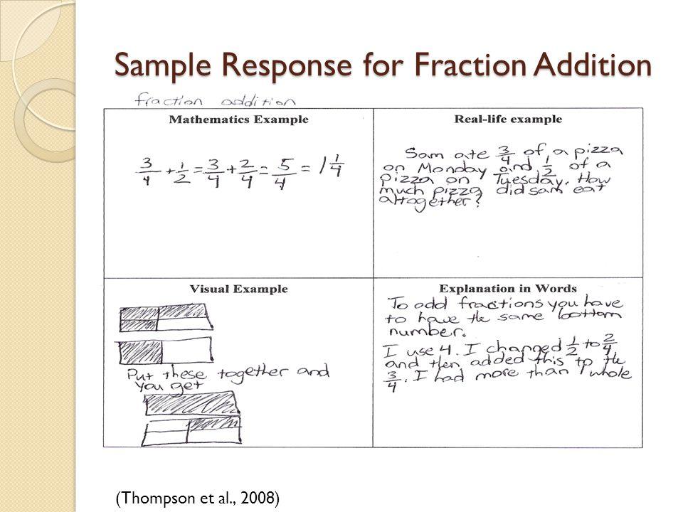 Sample Response for Fraction Addition (Thompson et al., 2008)