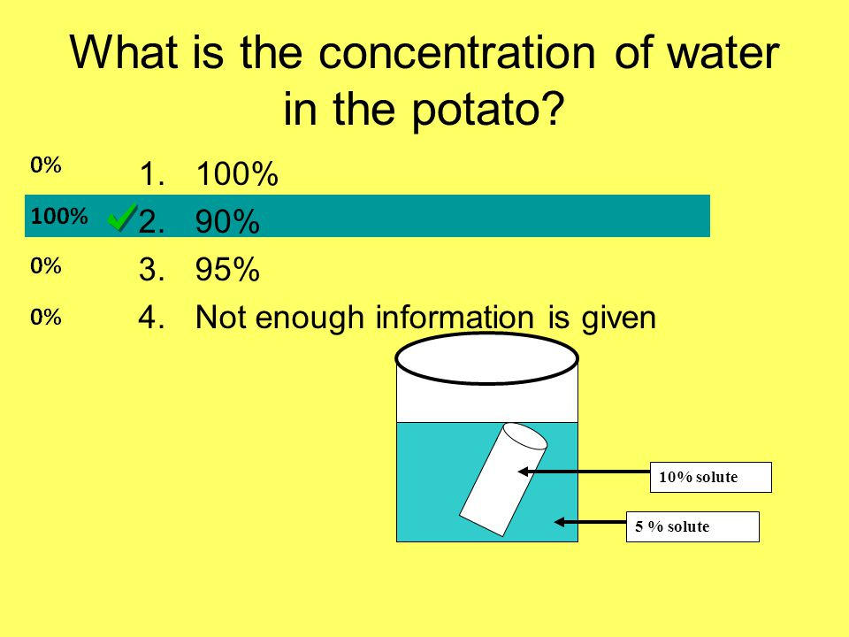 What is the concentration of water in the potato.