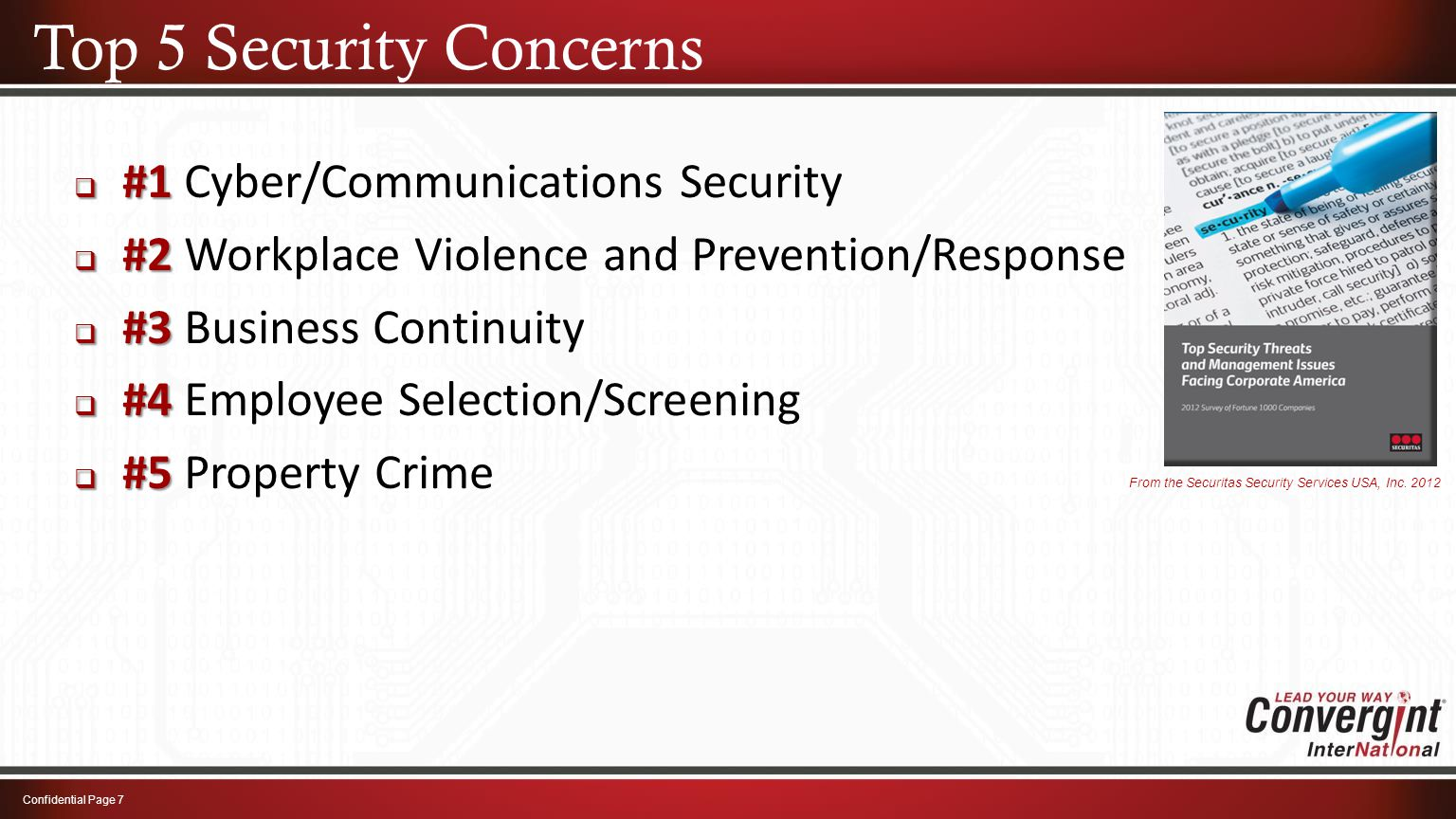 Top 5 Security Concerns Confidential Page 7  #1  #1 Cyber/Communications Security  #2  #2 Workplace Violence and Prevention/Response  #3  #3 Bus