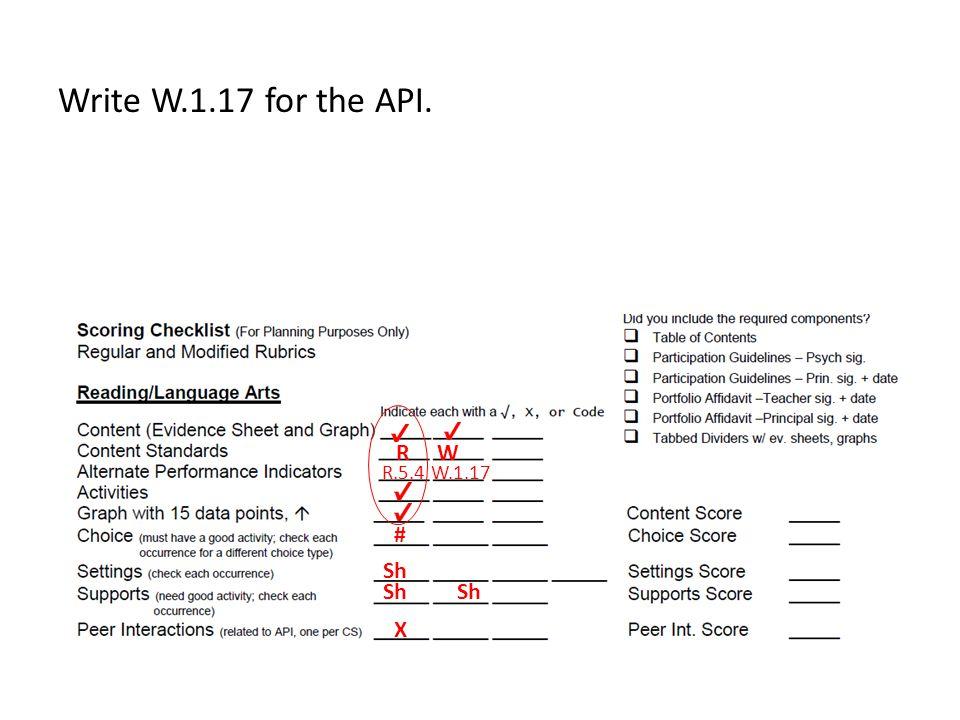 Write W.1.17 for the API. R W R.5.4 W.1.17 # Sh Sh Sh X