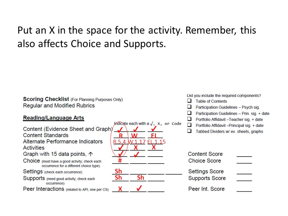 Put an X in the space for the activity. Remember, this also affects Choice and Supports. R W EL R.5.4 W.1.17 EL.1.15 # Sh Sh Sh X X X