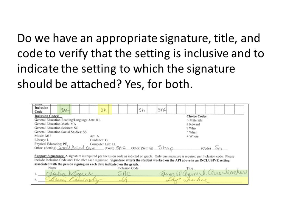 Do we have an appropriate signature, title, and code to verify that the setting is inclusive and to indicate the setting to which the signature should be attached.