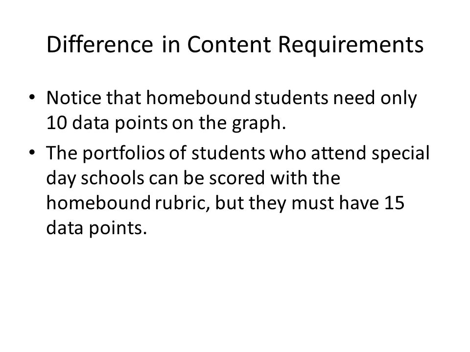 Difference in Content Requirements Notice that homebound students need only 10 data points on the graph.