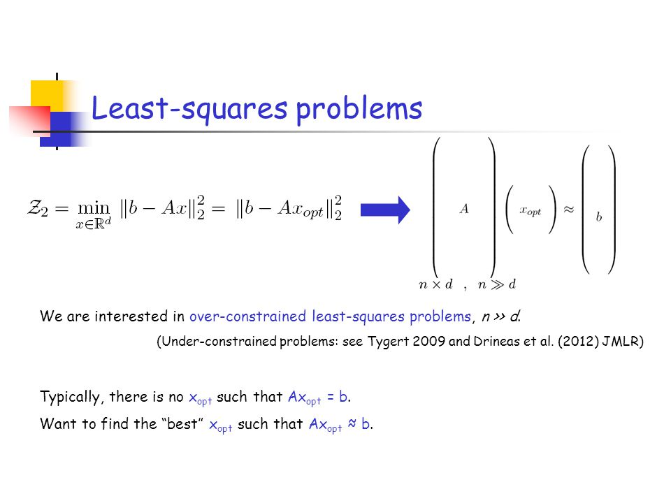 Least-squares problems We are interested in over-constrained least-squares problems, n >> d. (Under-constrained problems: see Tygert 2009 and Drineas
