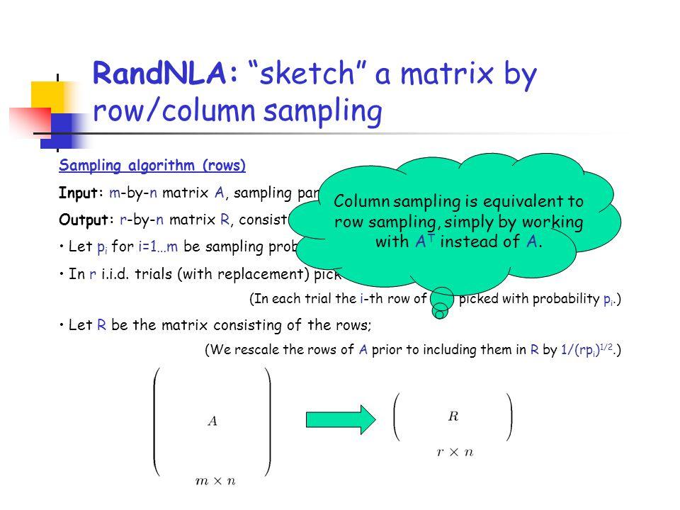 Sampling algorithm (rows) Input: m-by-n matrix A, sampling parameter r Output: r-by-n matrix R, consisting of r rows of A Let p i for i=1…m be samplin