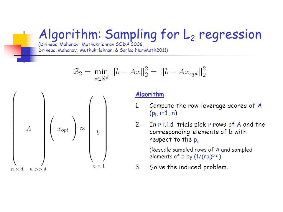 Algorithm: Sampling for L 2 regression (Drineas, Mahoney, Muthukrishnan SODA 2006, Drineas, Mahoney, Muthukrishnan, & Sarlos NumMath2011) Algorithm 1.