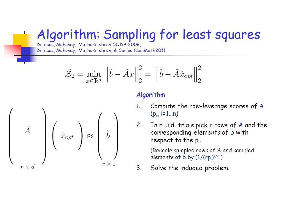 Algorithm: Sampling for least squares Drineas, Mahoney, Muthukrishnan SODA 2006, Drineas, Mahoney, Muthukrishnan, & Sarlos NumMath2011 Algorithm 1.Com